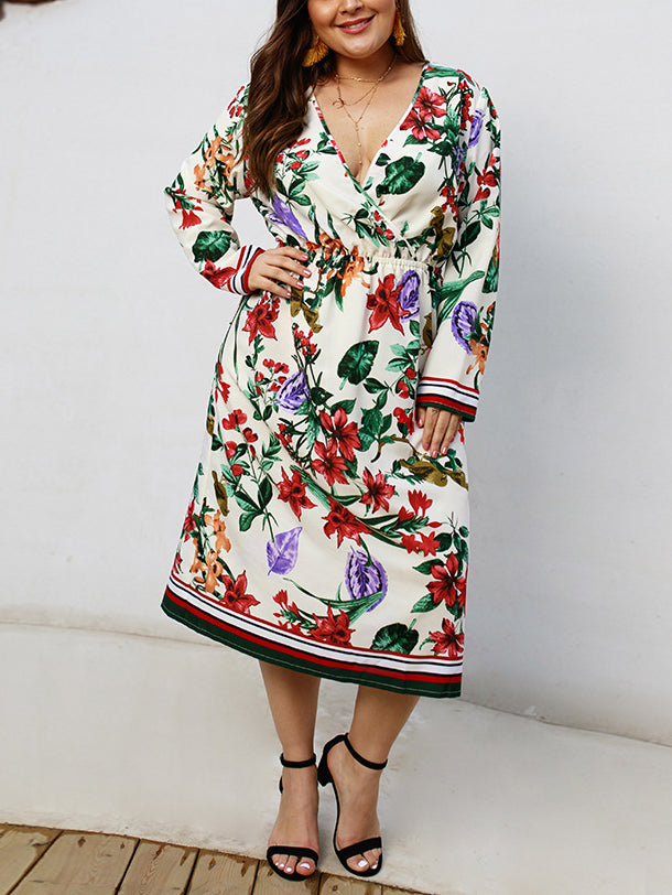 Printed Long Sleeved V-neck Dress