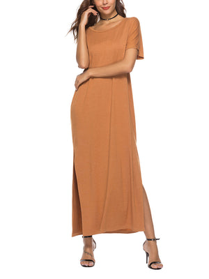 Women's Large Swing Solid Color Dress
