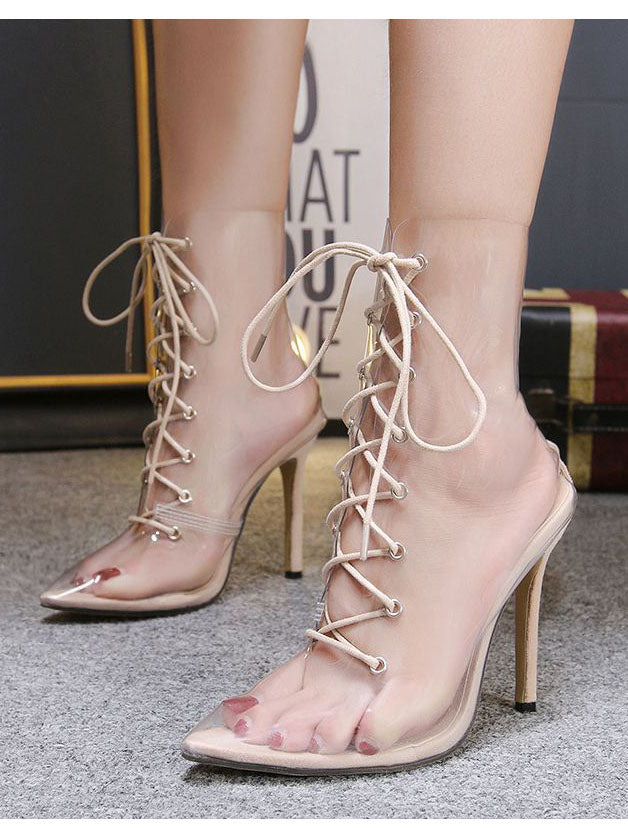 Women's Boots Pointed Cross Straps with Transparent Stilettos