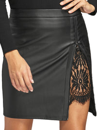 Women Short Lace Leather Skirt