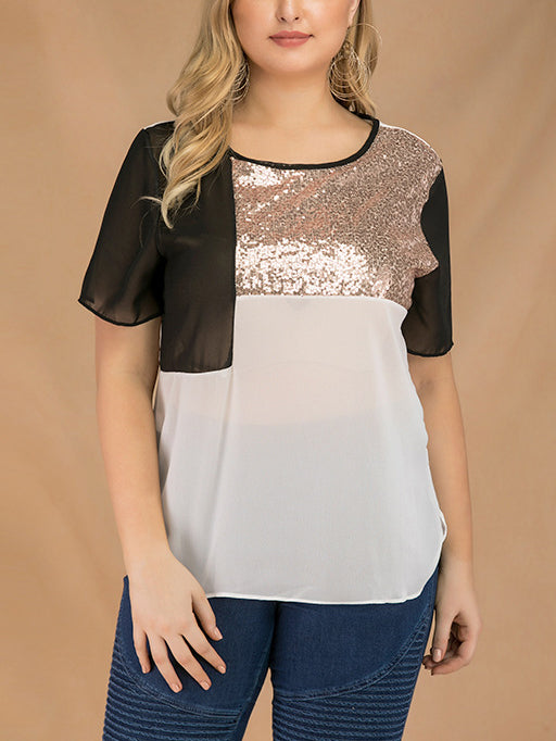 Plus Size Splicing Crew Neck Short Sleeve Sequined Chiffon Top