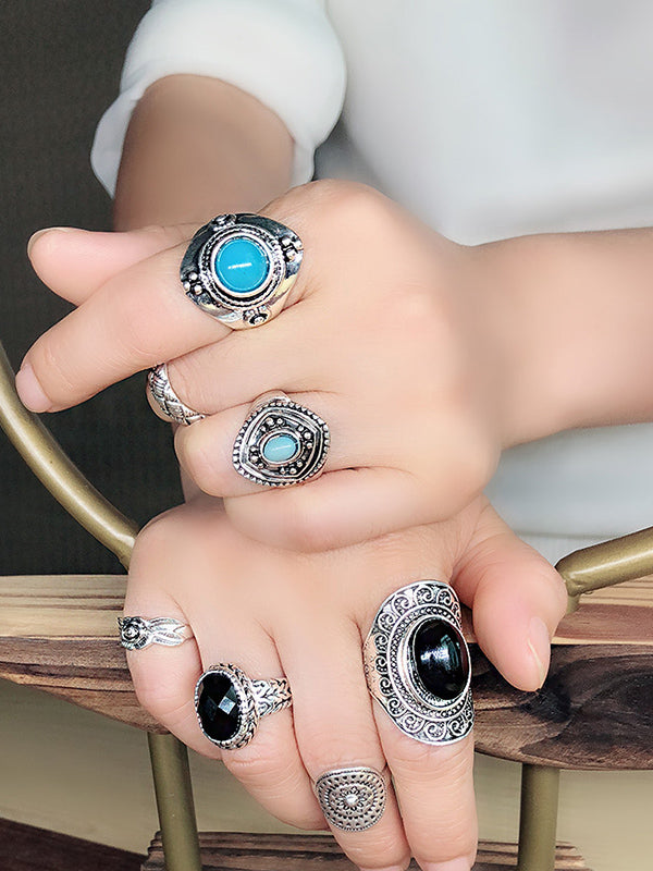 Combination Set Ring Men and Women Retro Style Totem Court Luxury Ring