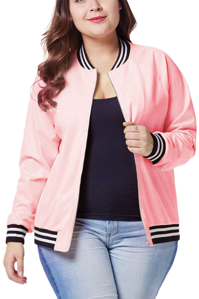 Large Size Women's Fat Mm Autumn and Winter Wear Baseball Uniform Jacket Female