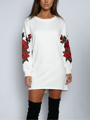 Three-dimensional Flower Embroidery Round Neck Sweater Women