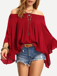 Strapless Strap Collar Solid Chiffon Ruffle Sleeve T-Shirt