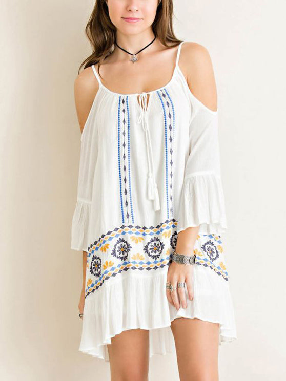 Bohemian Holiday Sling Strapless Embroidered Dress