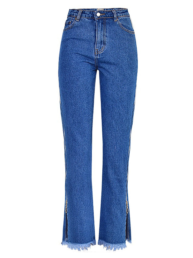 High Waist Denim Trousers Double Side Zipper Flared Casual Pants