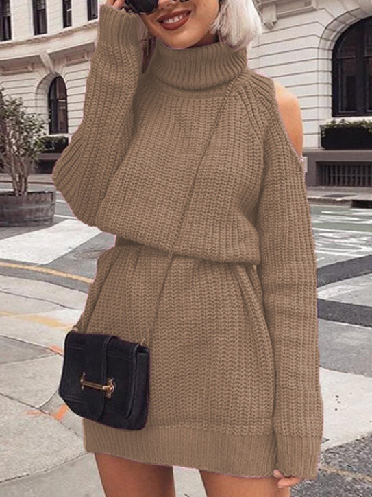 Mid-length High Collar Off-the-shoulder Sweater Dress