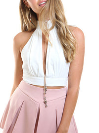 Top Hanging Neck Short Sexy Vest