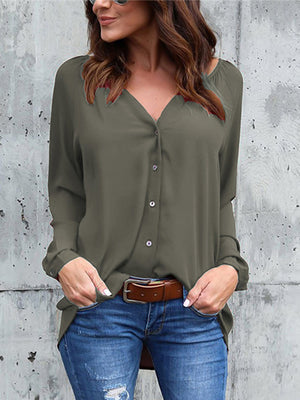 Solid Color V-neck Loose Long-sleeved Chiffon Shirt