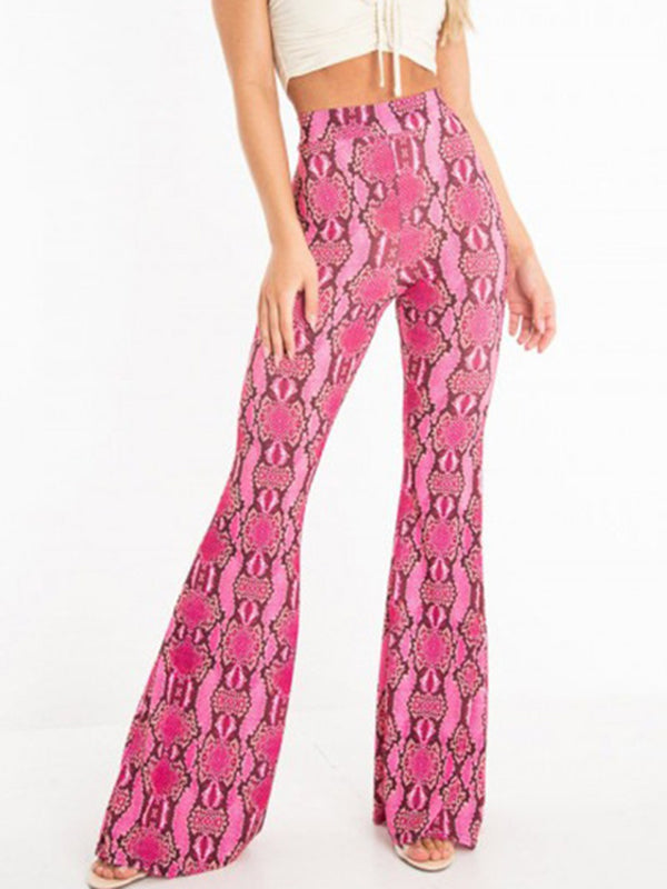 Snake Fashion Wide Leg Stretch Casual Trousers