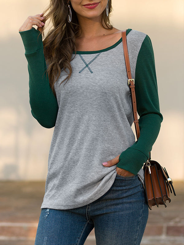 Slim T-shirt Round Neck Long Sleeve Stitching Top