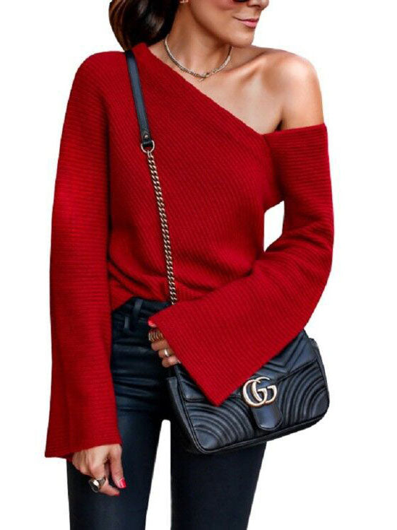 Ladies Sexy Word Shoulder Sweater Autumn and Winter Knitted Sweater