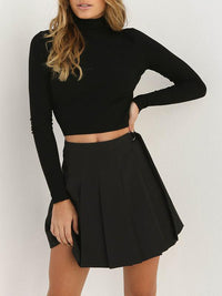 Backless High-necked Long-sleeved Sweater Top