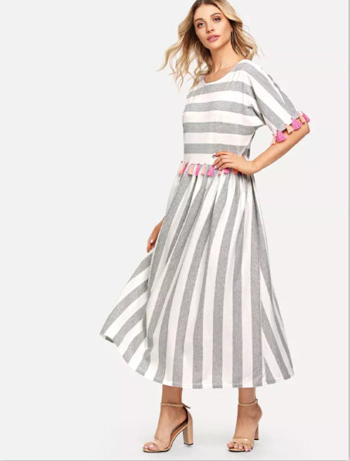Round Neck Striped Color Tassel Dress