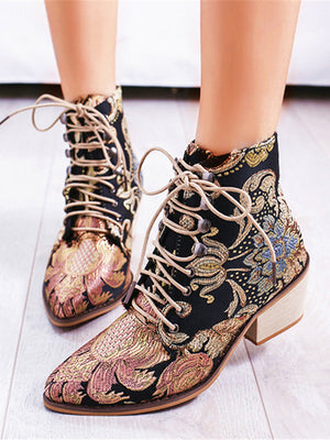 Embroidered Lace-up High Heel Boots