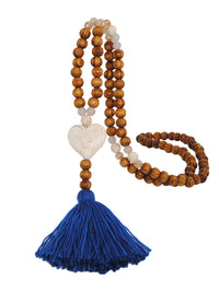 Antique Wooden Beads Necklace Female Color Tassel Butterfly Star Turquoise Pendant