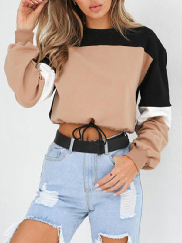 Contrast Stitching Round Neck Short Drawstring Long Sleeve Sweater