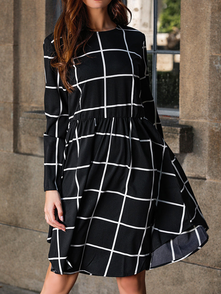 Simple Large Plaid Printed Long Sleeve Midi Dress