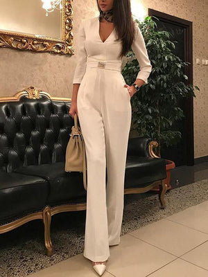Women's Jumpsuit Sexy Deep V 7 Sleeves Jumpsuit