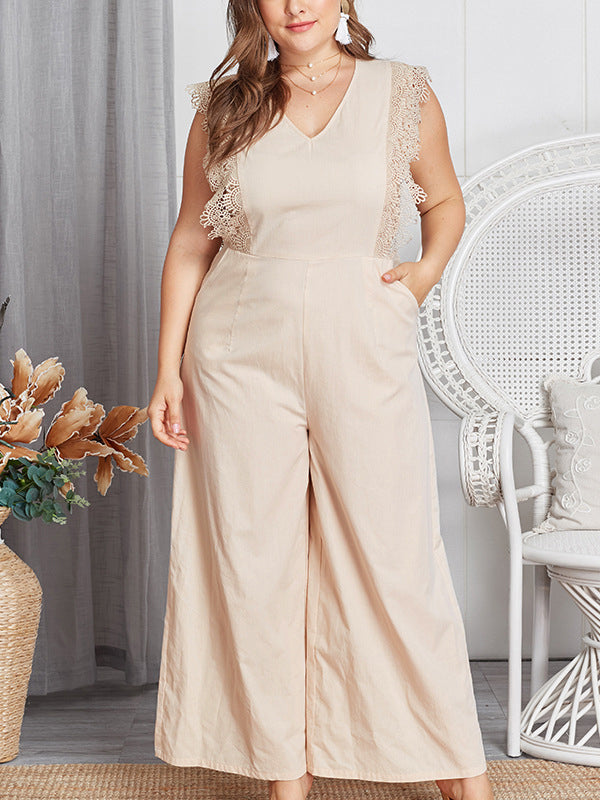 Sleeveless Lace V Neck Women Jumpsuits