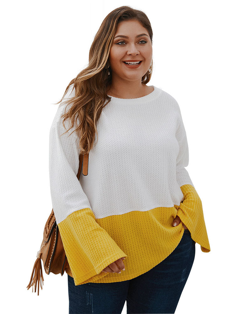 Stitching Tops T-shirt Autumn and Winter Long-sleeved Sweater