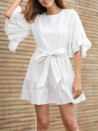 Dress Horn Sleeve Ruffled Stitching Design Striped Print Skirt