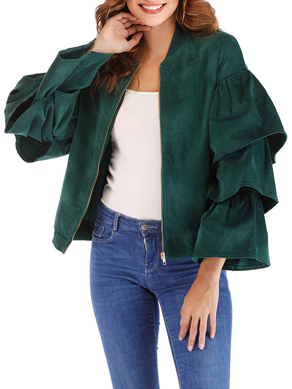 Stand Collar Solid Color Layered Ruffled Trumpet Sleeve Casual Jacket