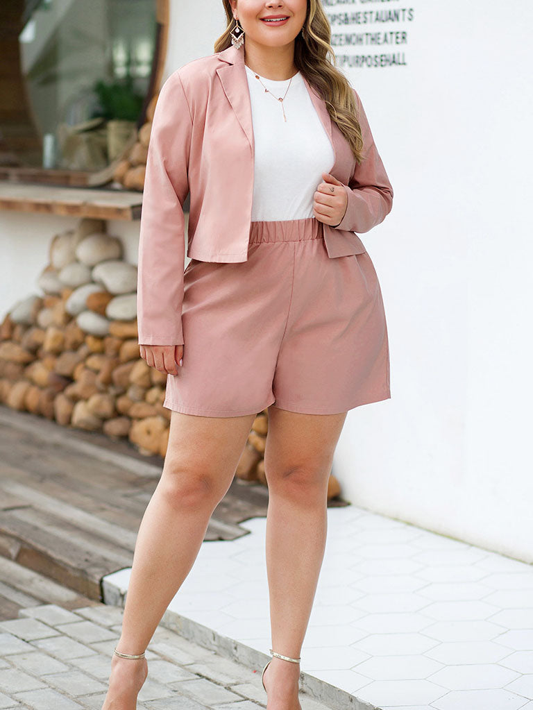Large Size Women's Long-sleeved Suit Jacket High-rise Wide-leg Shorts Two-piece Suit