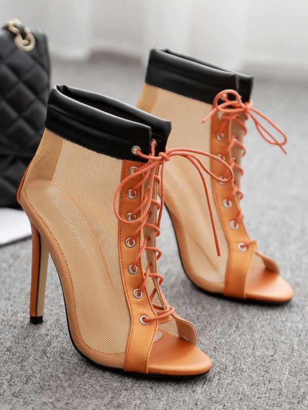 Women's Cool Boots Spring Mesh Hollow Super High Heel Shoes Roman Shoes