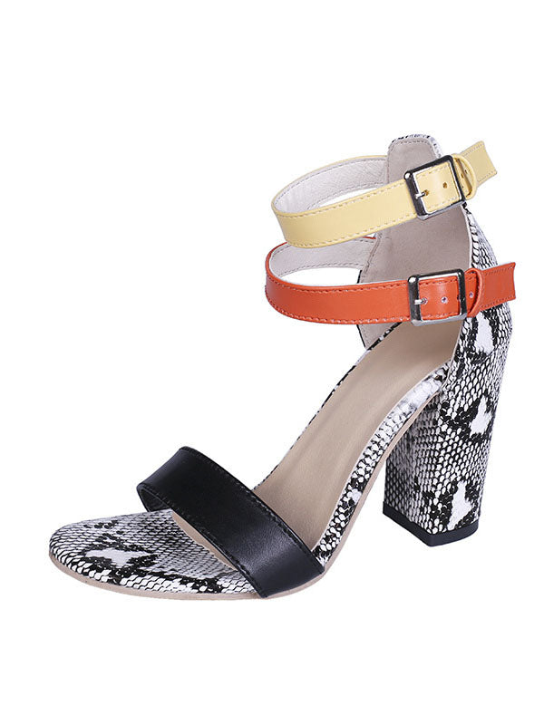 Summer Snakeskin Sandals Fashion Women's Shoes Large Size
