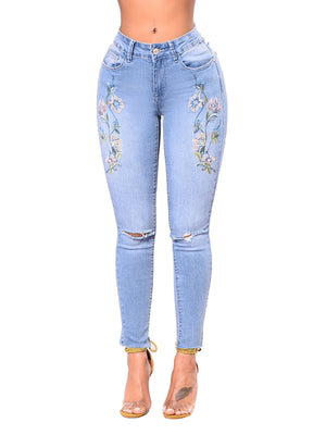 Embroidered Stretch Hole Hot Denim High Waist Pants Jeans