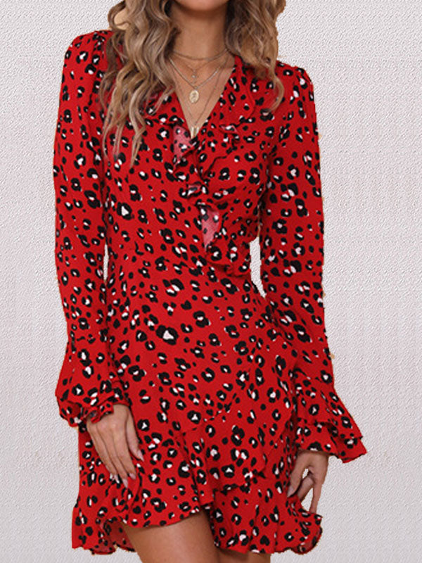 Autumn and Winter New Sexy Women's Long-sleeved Printed Leopard Dress with Belt