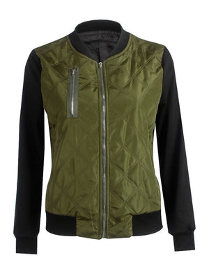 Solid Color Fashion Zipper Quilted Jacket