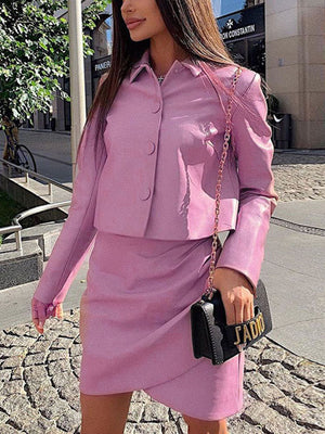 Autumn Women's Suit PU Leather Lapel Jacket Irregular Skirt Fashion Two-piece Suit