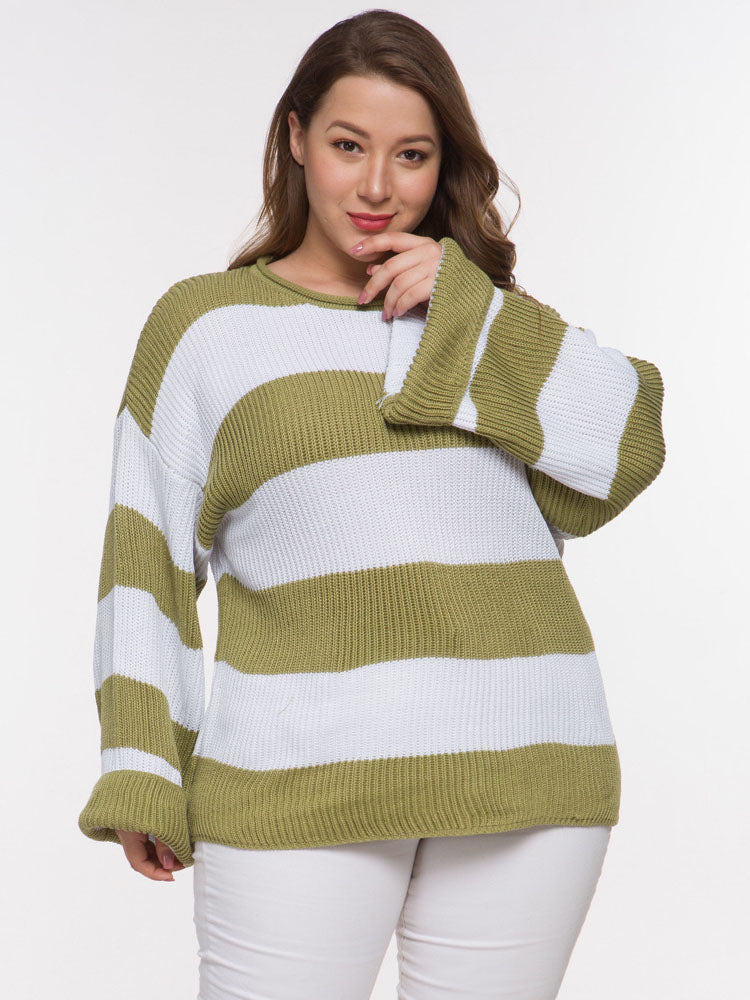 Long-sleeved Fat Woman Large Size Color Matching Autumn and Winter Sweater