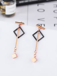 Long Tassel Earrings Acrylic Geometric Square Earrings