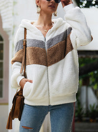 Long-sleeved Splicing Wool Coat Hooded Loose Sweatshirt