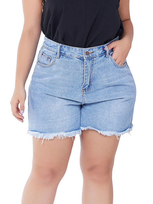 Large Size Raw Women's Denim Shorts Women's Large Size Shorts Fat MM Shorts