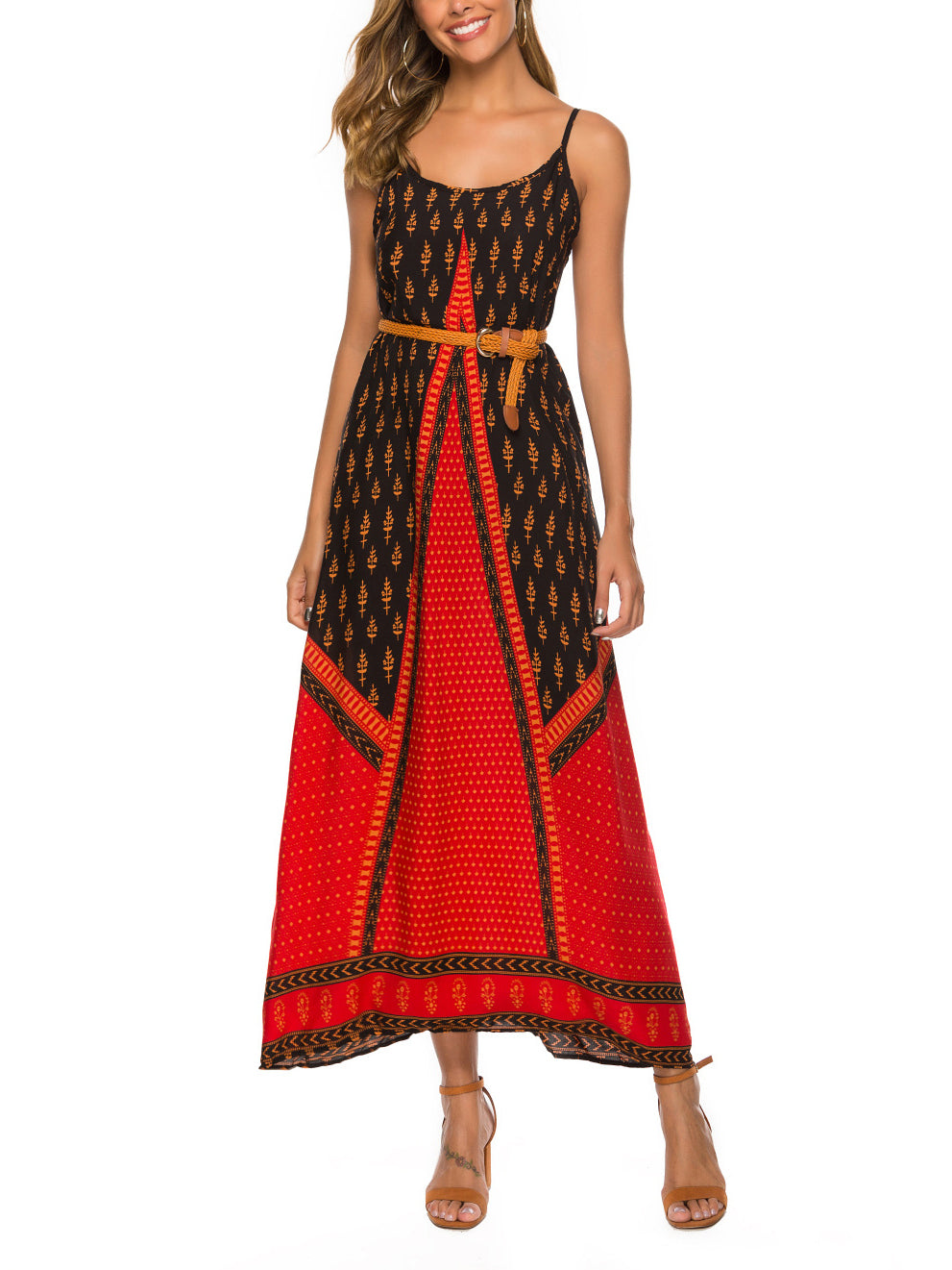 Ethnic Style Sling Printed Beach Holiday Dress