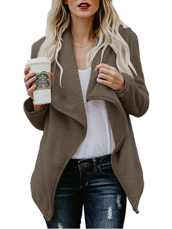 Plush Large Lapel Long Sleeve Cardigan