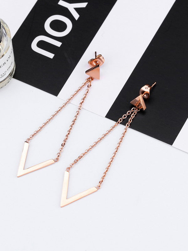 Rose Gold Earrings Simple Temperament V-shaped Earrings Female