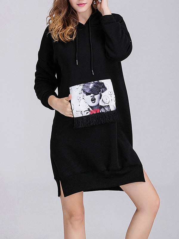 Plush Hooded Patchwork Sweater Skirt Loose Sweater