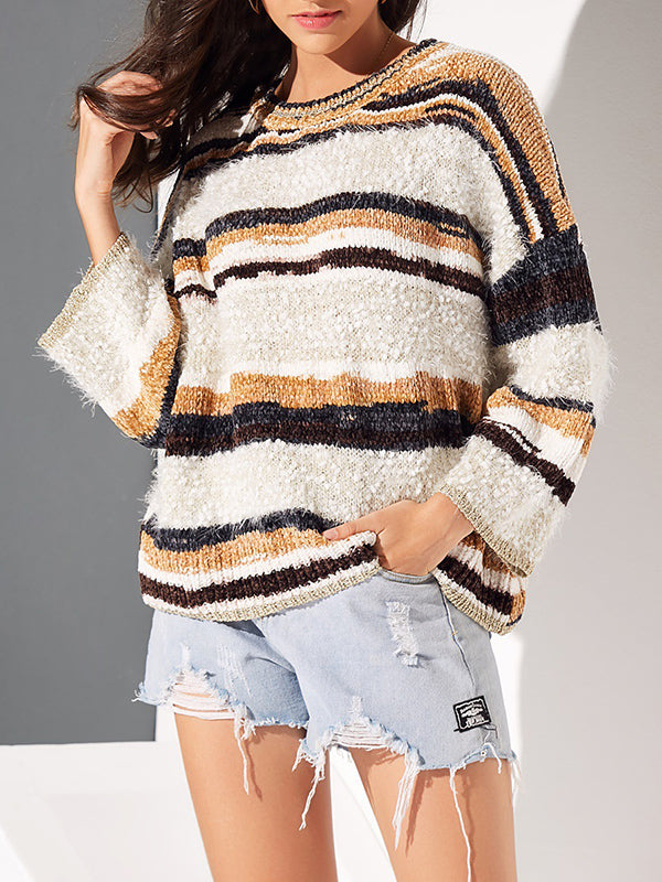 Sweater Striped Knit Casual Pullover Sweater Top Round Neck Flare Sleeve