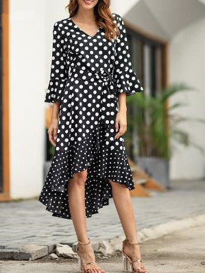 New Dotted Ruffled V-neck Dress
