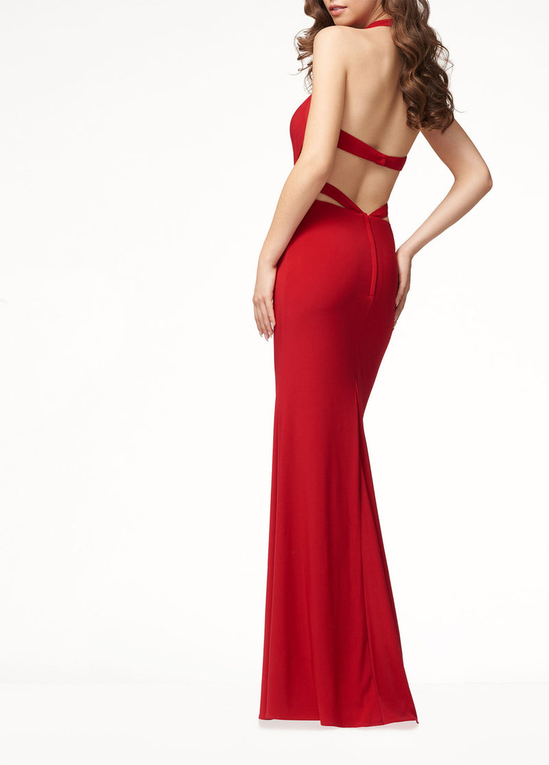Evening Dress Sleeveless Halter Dress Long Skirt