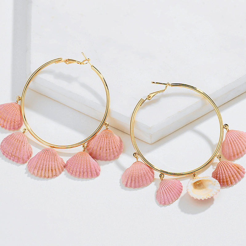 Natural Conch Shell Bohemian Large Circle Earrings