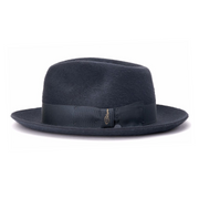 Steel by Bellissimo 100% Rabbit Fur Felt Fedora (Steel Grey Silky Finish)