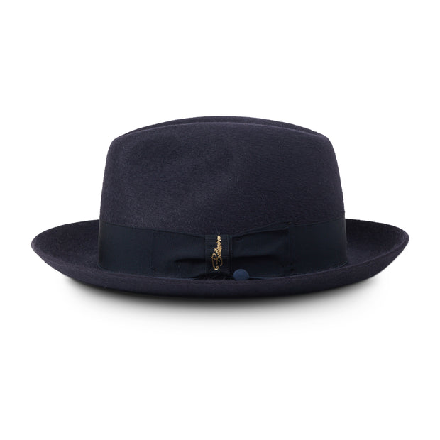 Silky by Bellissimo 100% Rabbit Fur Felt Fedora (Navy Silky Finish)