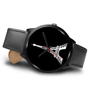 Eiffel Tower Unisex Watch real genuine leather / stainless steel band